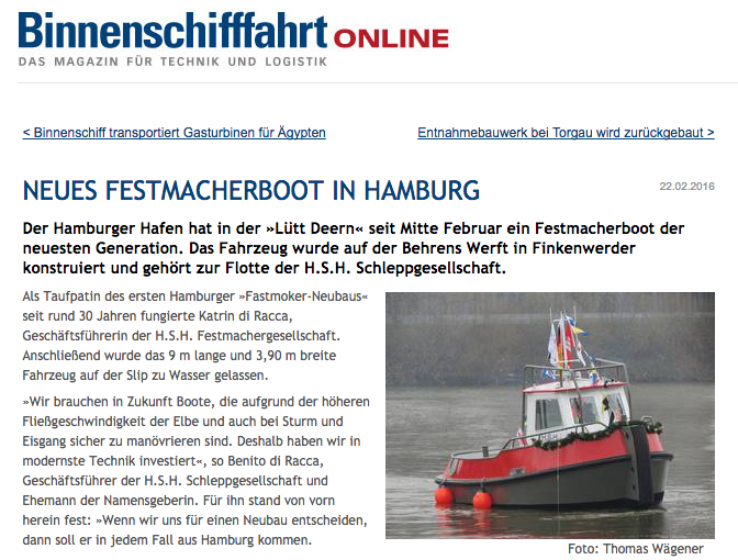 Neues Festmacherboot in Hamburg